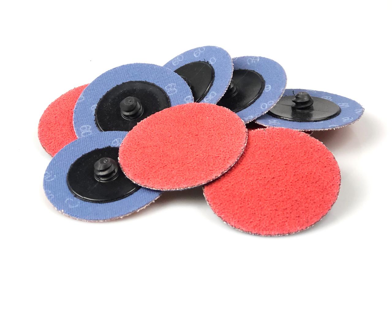 """25 Pack 2/"""" 120 Grit Zirconia+Grind Aid Quick Change Sanding Discs Type R Roloc"""