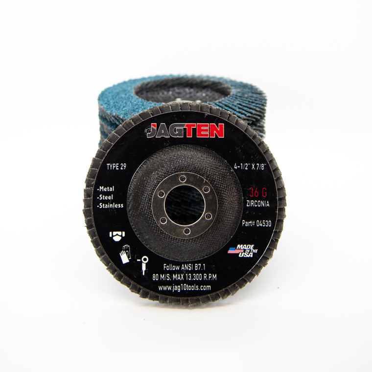 "4-1/2"" x 7/8"" Zirconia Flap Disc T29 - 10 Pack"
