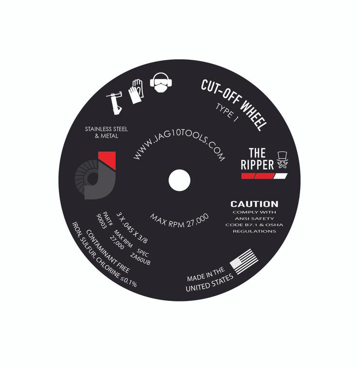 "3"" x .045 x 3/8""  Zirconia Premium Cut-Off Wheels - 50/pack"