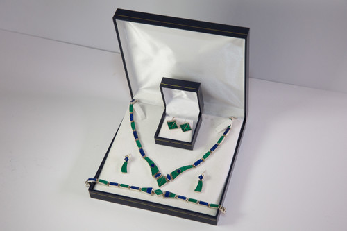Amara set of Pendant, Collar, Earrings and Bracelet  for the bride and Cufflinks for the groom