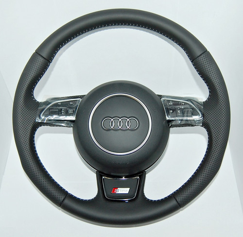 GENUINE AUDI A6 S6 A7 S LINE S-TRONIC PERFORATED COMPLETE STEERING WHEEL 8X0419091M 4G0880201P