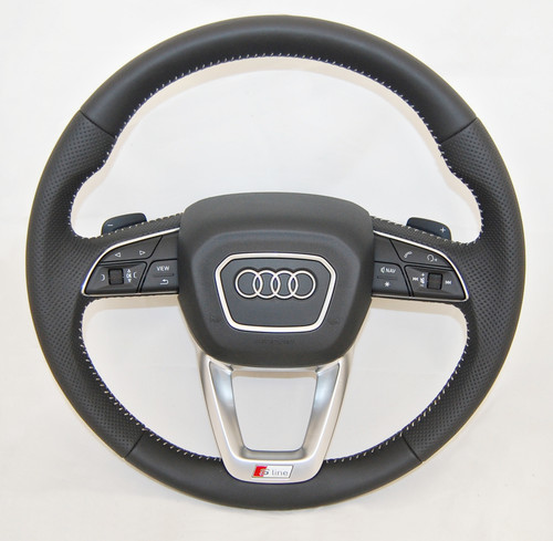 NEW GENUINE AUDI Q7 S LINE MULTIFUNCTION PERFORATED COMPLETE STEERING WHEEL