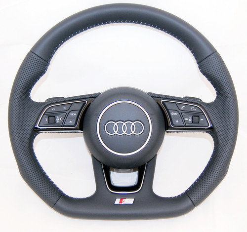 NEW OEM AUDI S LINE A3 S4 A5 S5 A4 Q2 PERFORATED COMPLETE STEERING WHEEL 8W0419091 AF JAH