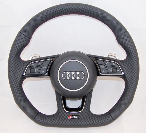 NEW OEM AUDI RS A3 S4 A5 S5 A4 Q2 FULL PERFORATED COMPLETE STEERING WHEEL 8W0419091 FE