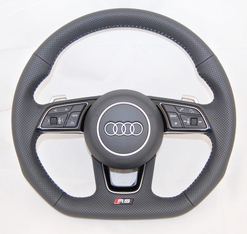 NEW OEM AUDI RS A4 S4 A5 S5 A3 Q2 FULL PERFORATED COMPLETE STEERING WHEEL 8W0419091 FE