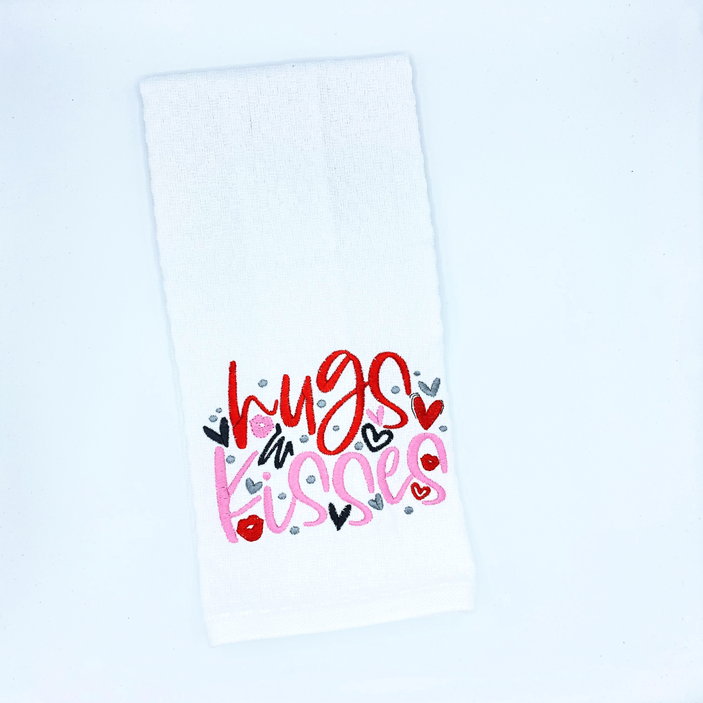 Hugs and Kisses Embroidered Dish Towel