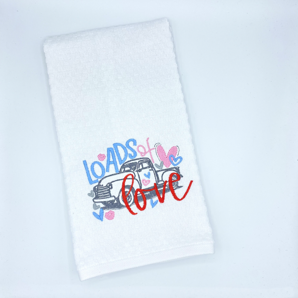 Loads of Love Embroidered Dish Towel