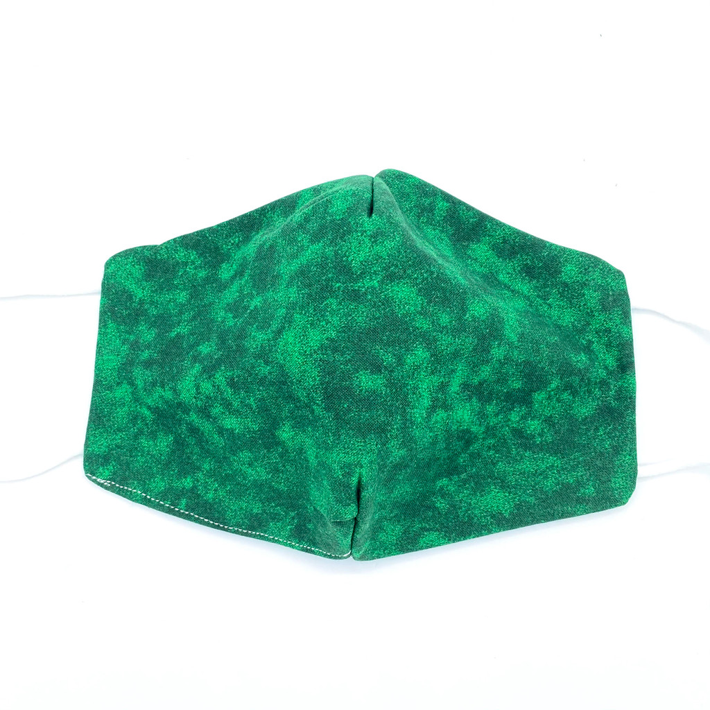 Dark Green Marble Mask, 100% cotton, 3 Layers