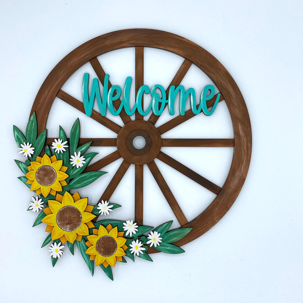 Wagon Wheel Welcome Sign painted