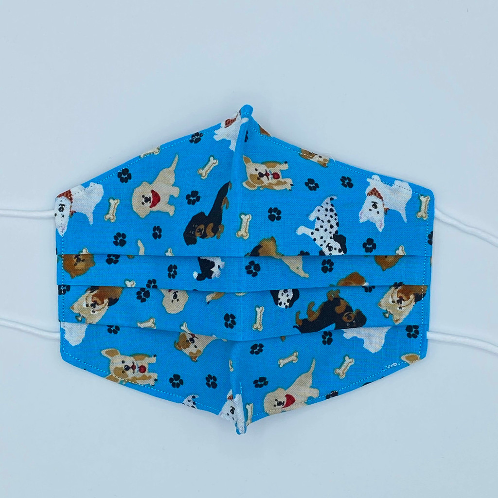 100% Cotton Puppies Fabric Face Covering with Cord Elastic