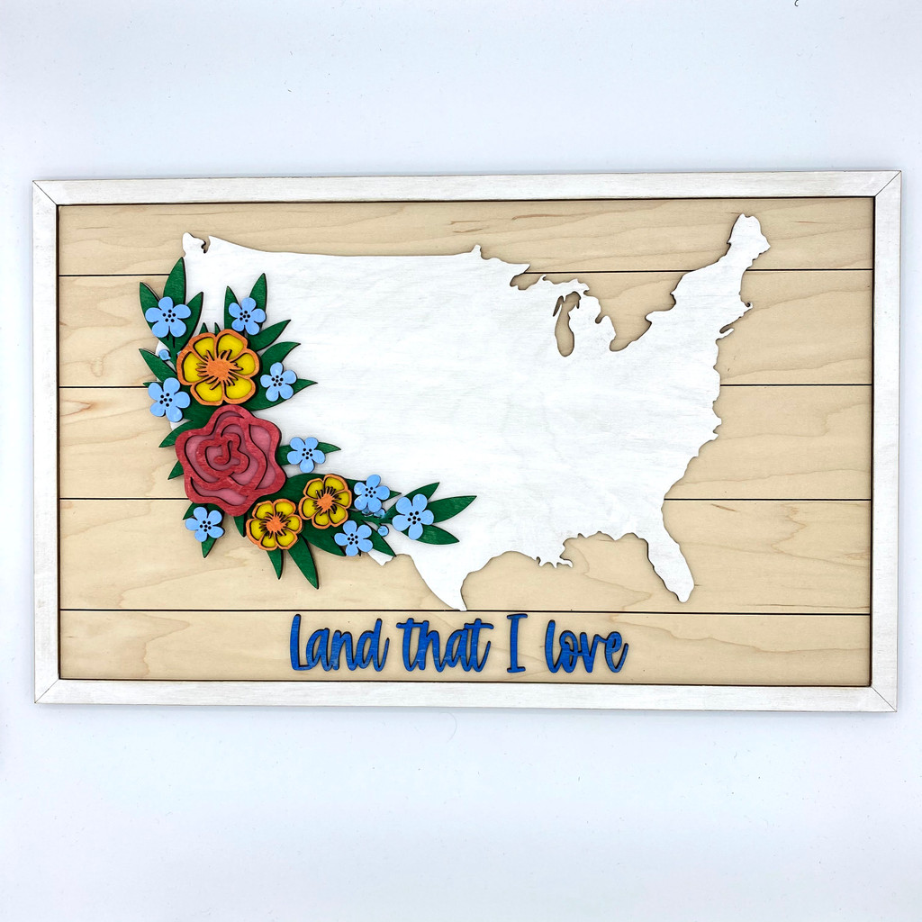Floral USA Wood Sign