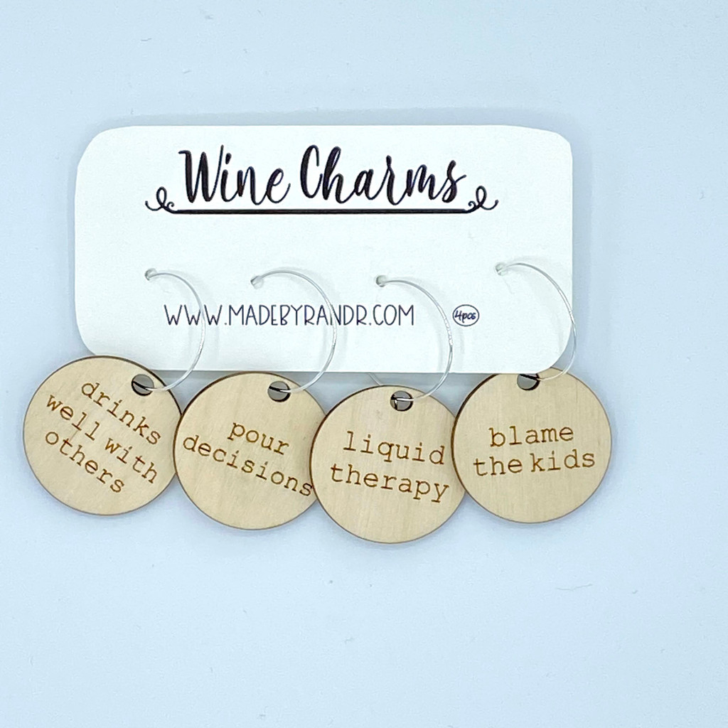 Drinks Well With Others Wood Wine Charms