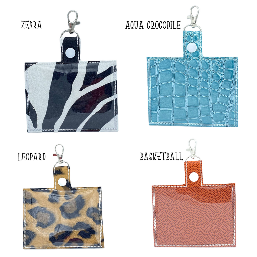 Patterned Vaccine Card Holder Keychain with Clip