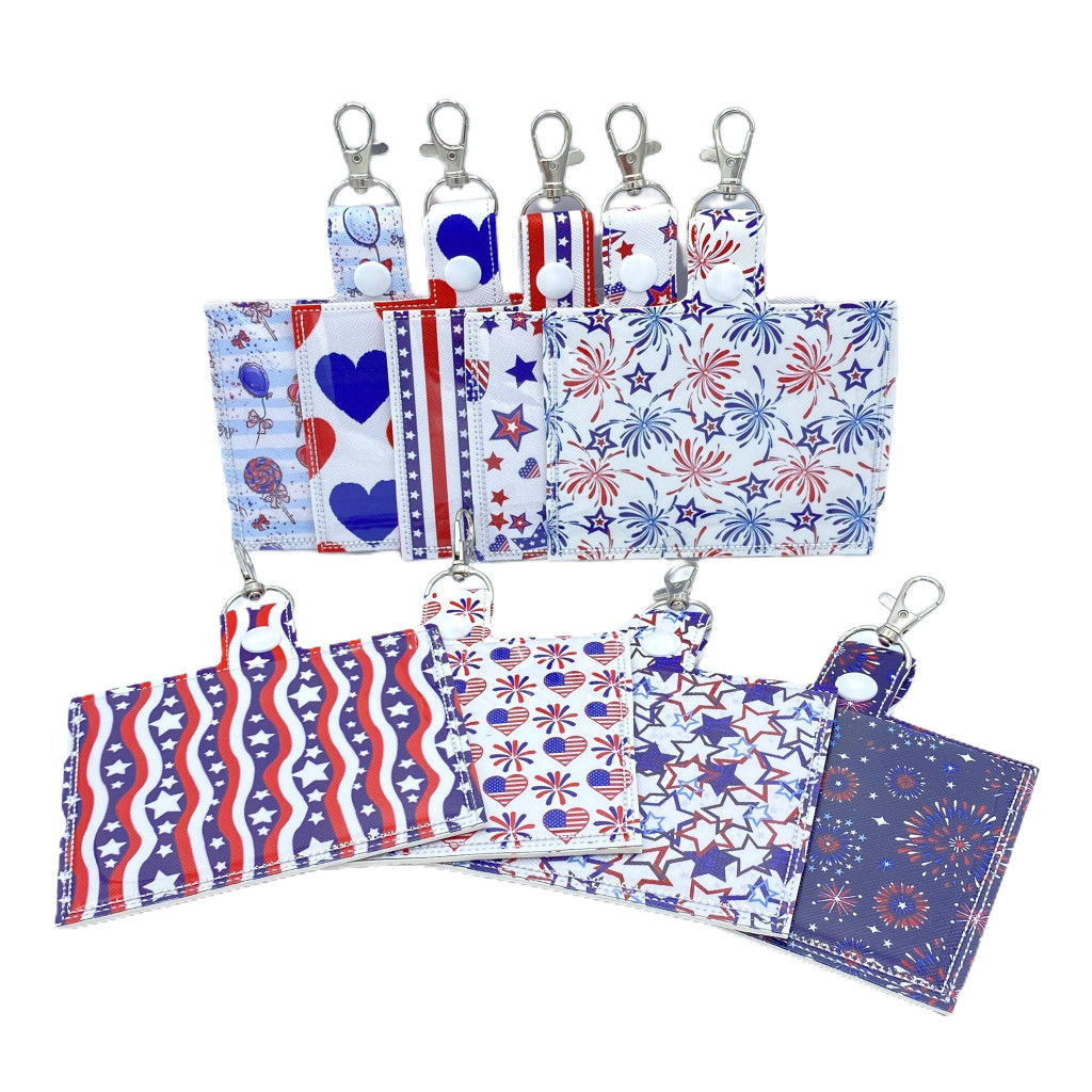 Patriotic Vaccine Card Holder Keychain with Clip