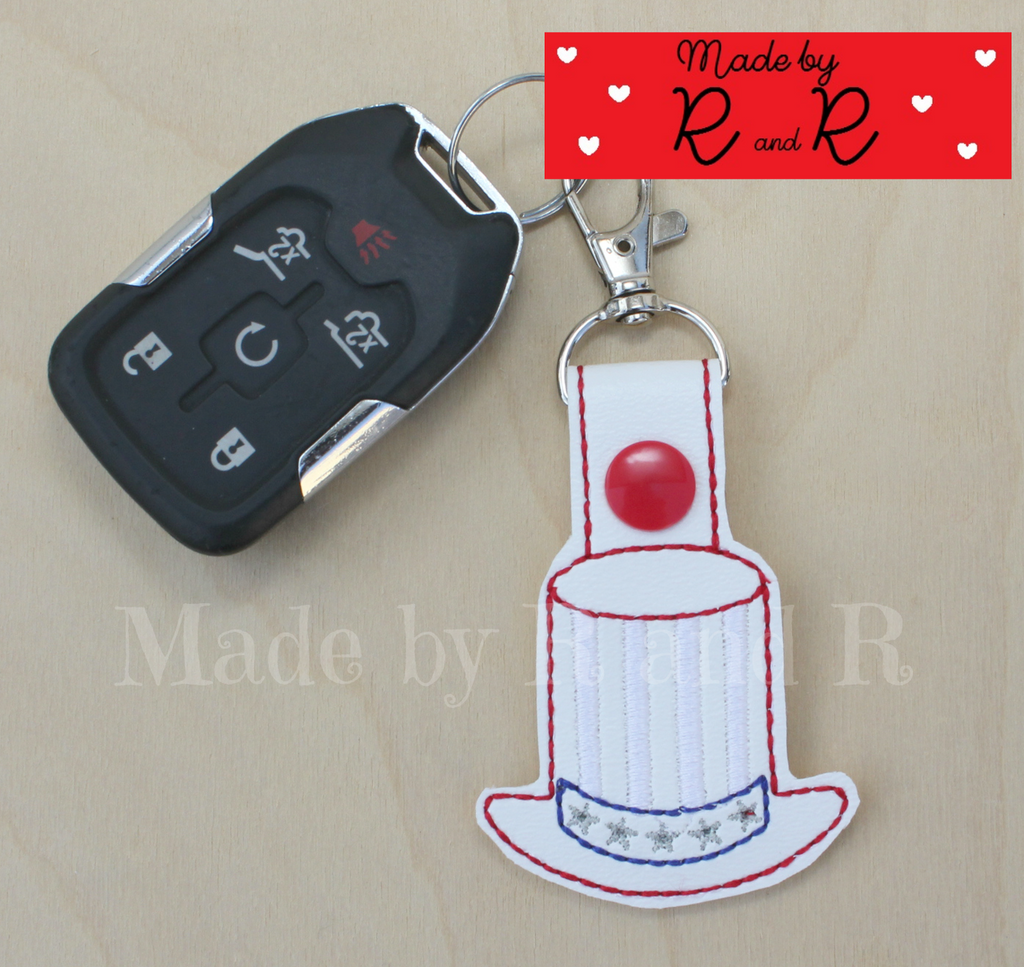 Patriotic Hat Keychain With Attached Clip