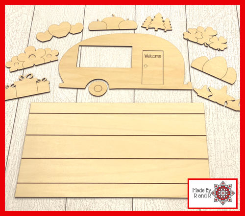 Camper With Interchangeable Holiday Pieces and Background