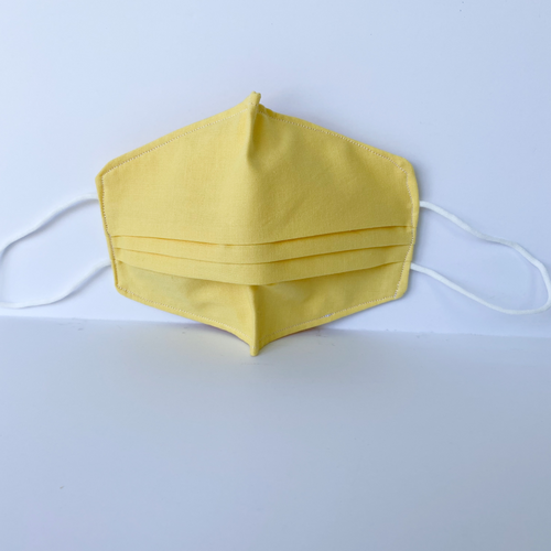 100% Cotton Yellow Fabric Face Covering with Cord Elastic