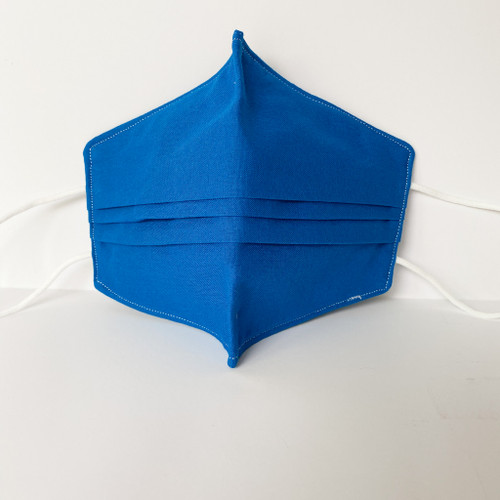 100% Cotton Royal Blue Fabric Face Covering with Cord Elastic