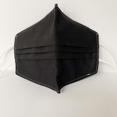 100% Cotton Black Fabric Face Covering with Cord Elastic