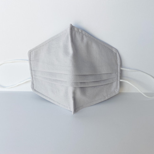 100% Cotton Grey Fabric Face Covering with Cord Elastic