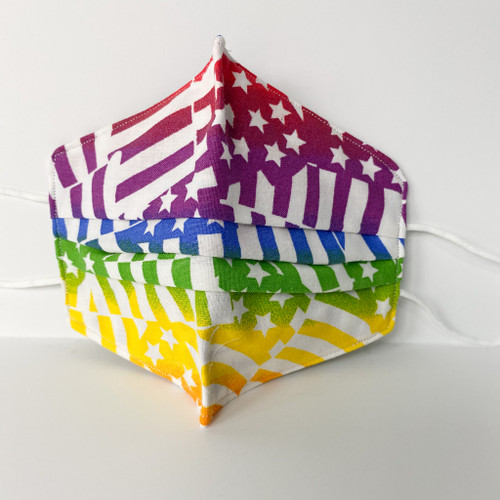 100% Cotton Rainbow Flag Fabric Face Covering with Cord Elastic