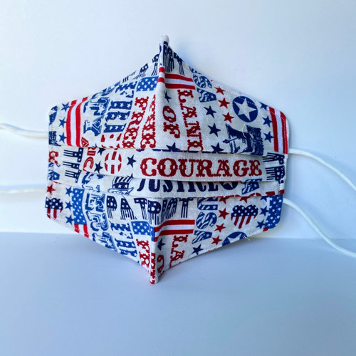 100% Cotton Patriot Fabric Face Covering with Cord Elastic
