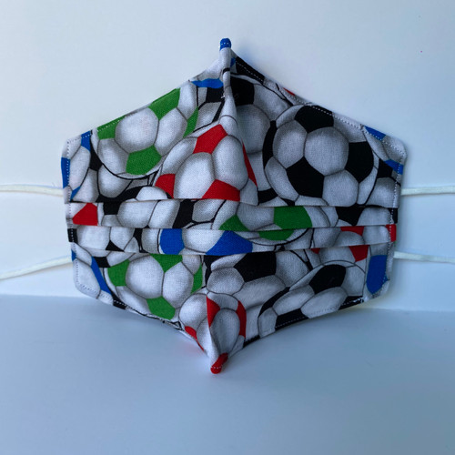 100% Cotton Soccer Fabric Face Covering with Cord Elastic