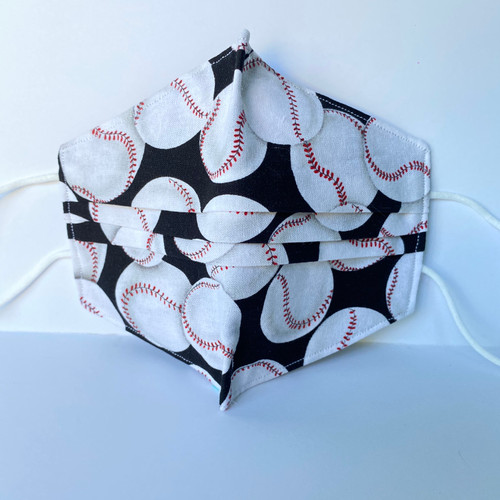 100% Cotton Baseball Fabric Face Covering with Cord Elastic