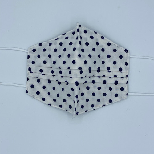 100% Cotton White with Polka Dots Fabric Face Covering with Cord Elastic