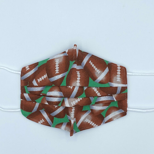 100% Cotton Football Fabric Face Covering with Cord Elastic