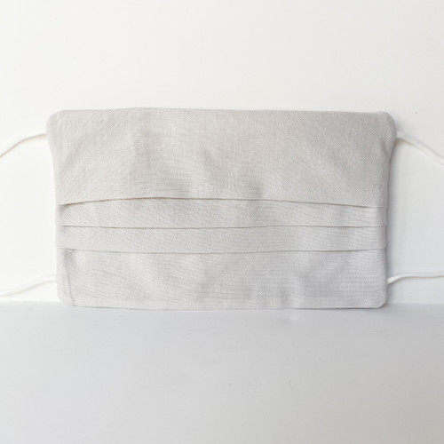 Pleated Light Gray 100% Cotton 3-layer Fabric Face Mask with Filter Pocket and Bendable Nose Strip