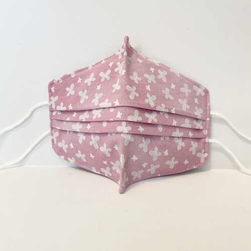 100% Cotton Butterfly Fabric Face Covering with Cord Elastic