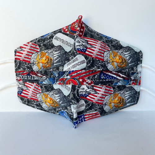 100% Cotton Marine Corp Fabric Face Covering with Cord Elastic