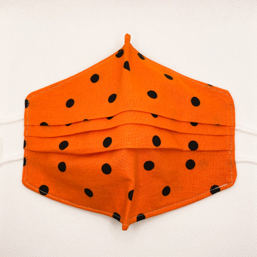 100% Cotton Orange Polka Dot Fabric Face Covering with Cord Elastic