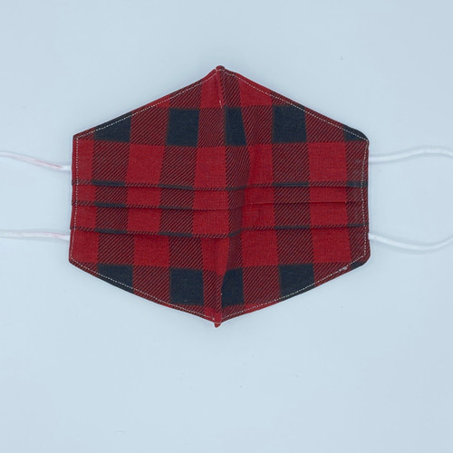 100% Cotton Buffalo Plaid Fabric Face Covering with Cord Elastic