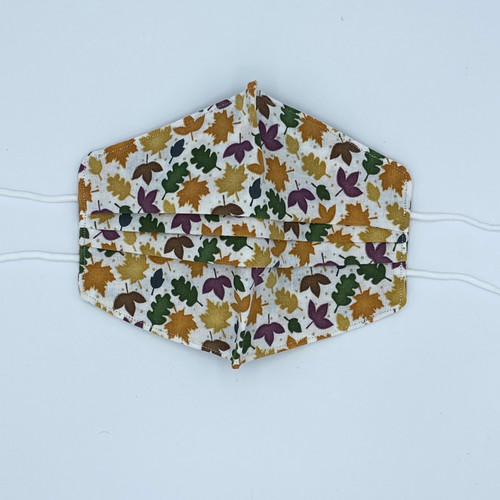 100% Cotton Fall Leaves Fabric Face Covering with Cord Elastic