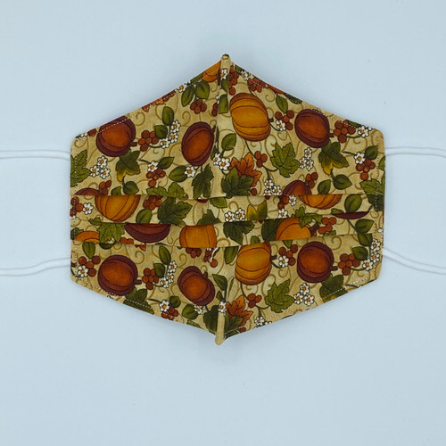100% Cotton Pumpkins Fabric Face Covering with Cord Elastic