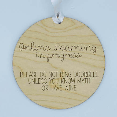Online Learning In Progress Wood Sign, Choose Your Subject