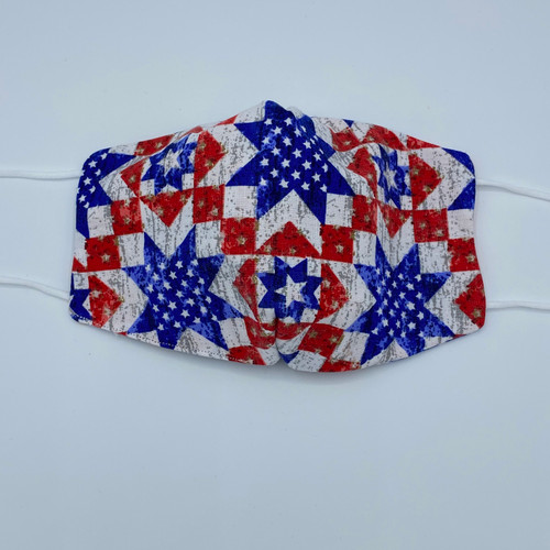 Quilted Patriotic Mask, 100% cotton, 3 Layers