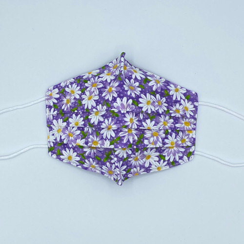 100% Cotton Daisies Fabric Face Covering with Cord Elastic