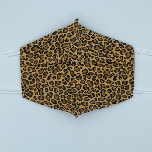 100% Cotton Leopard Fabric Face Covering with Cord Elastic