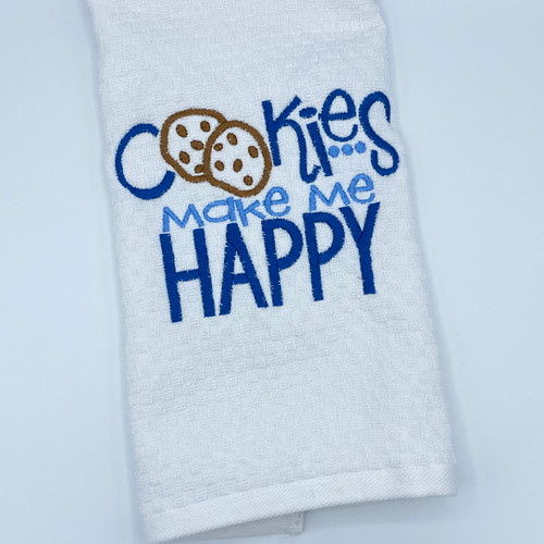 Cookies Make Me Happy Embroidered Dish Towel