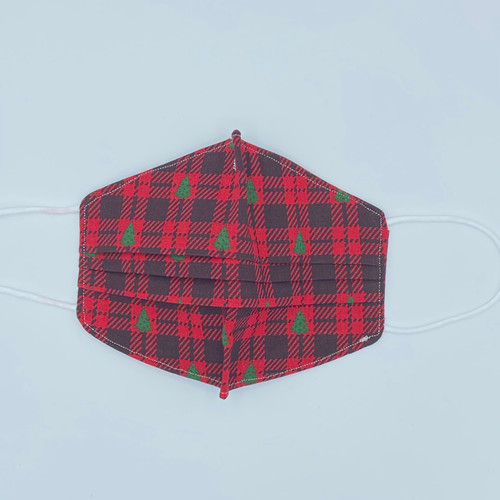 100% Cotton Plaid Christmas Trees Fabric Face Covering with Cord Elastic