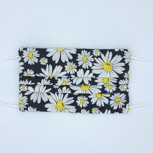 Pleated White Daisy 100% Cotton 3-layer Fabric Face Mask with Filter Pocket and Bendable Nose Strip