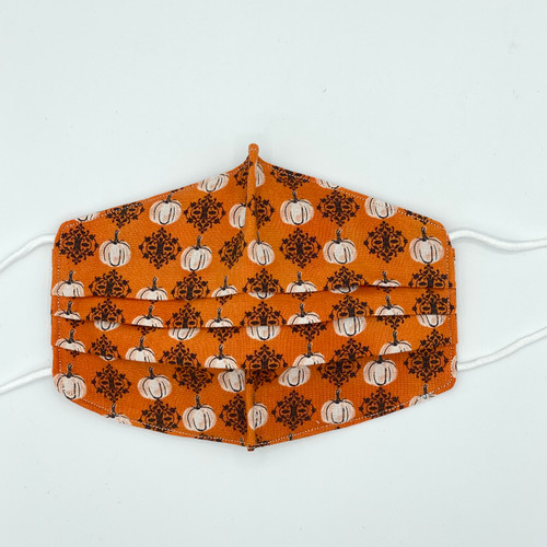 100% Cotton Fancy Pumpkins Fabric Face Covering with Cord Elastic