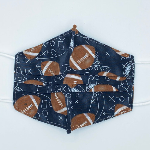 100% Cotton Football Plays Fabric Face Covering with Cord Elastic
