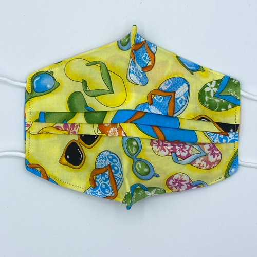 100% Cotton Flip Flops Fabric Face Covering with Cord Elastic