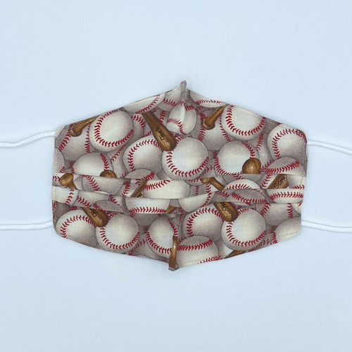 100% Cotton Play Ball Fabric Face Covering with Cord Elastic