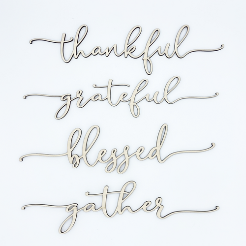Thanksgiving Place Setting Wood Words (Set of 4)