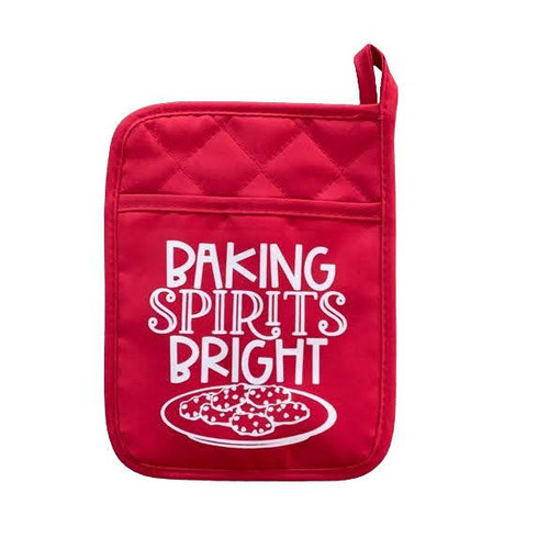 """Our """"Baking Spirits Bright"""" pot holder makes the perfect gift for that special someone."""